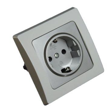 Steckdose Einbau D silber mit weißem Rahmen Unterputz – Bild 1