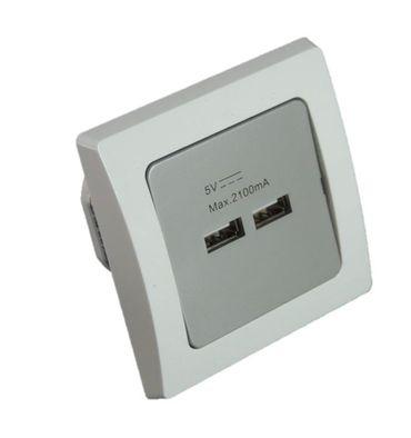 USB Einbaudose D silber mit weißem Rahmen Unterputz silber  – Bild 1