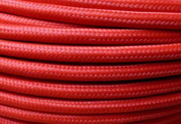 Textilkabel Stoffkabel 5m rot 3x0,75qmm für antike Pendel Lampen