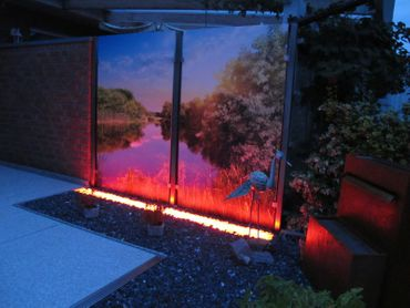Led Gabionen Licht Beleuchtung LED 2x1,0m länge 360° Farbe rot Garten