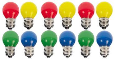 12er Set LED Tropfenlampe bunt gemischt Glühbirne Dekokette Tropfen