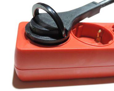 6fach Steckdosenleiste rot+flachem Winkelstecker+Ausziehlasche schaltbar – Bild 3