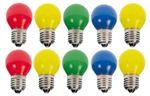 10er Set LED Tropfenlampe bunt gelb gemischt Party Glühbirne Biergartenkette Tropfen