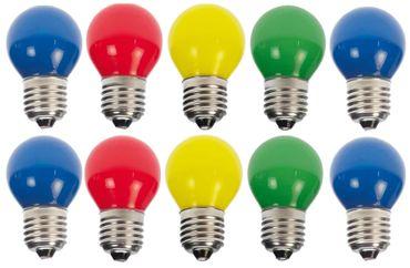 10er Set LED Tropfenlampe bunt blau gemischt Party Glühbirne Dekokette Tropfen – Bild 1