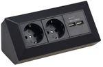Aufbau Unterbau 2-fach Küchensteckdosen Leiste mit USB Küche Ecke schwarz 001