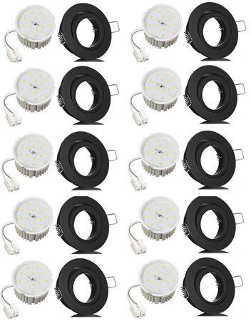 10xFlat Flacher Led Einbaustrahler schwarz matt+Flat Led 7Watt warmweiß 230V  – Bild 1