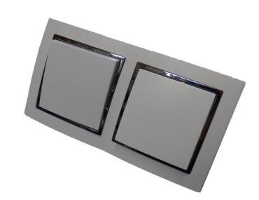 2fach Wechselschalter Einbau Kunststoff weiß Jan mit chrom Zier Rahmen Elektro