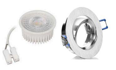 5xFlacher Led Flat Einbauspot Alu gebürstet ww 50° Spot 5W 35mm Einbautief 230V – Bild 1