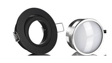 10xLed Einbauspot schwarz rund+Alu Led Flat ww matt 5W Einbautiefe 35mm 230V – Bild 1