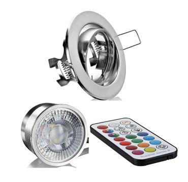5xFlat Einbaustrahler eisengeb.+Alu Led RGB+WW mit Fernbedienung 3Watt 230Volt – Bild 1