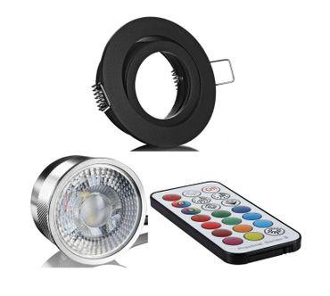 3xFlat Einbaustrahler schwarz rund+Alu Led RGB+WW mit Fernbedienung 3Watt 230V – Bild 1