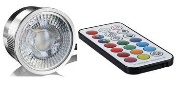 5xFlat Einbaustrahler schwarz rund+Alu Led RGB+WW mit Fernbedienung 3Watt 230V – Bild 2