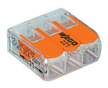 50xWago Klemme 3pol mit Hebel bis 4qmm Schnellverbinder klein