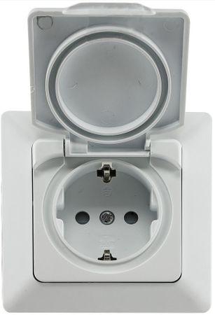 Steckdose D IP44 mit Klappdeckel weiß matt spritzwassergeschützt – Bild 1