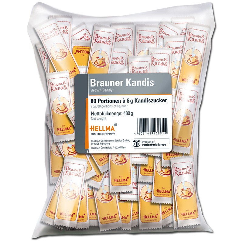 Hellma brauner Kandis-Zucker, 80 Portionen im Beutel Kaffee zu ...