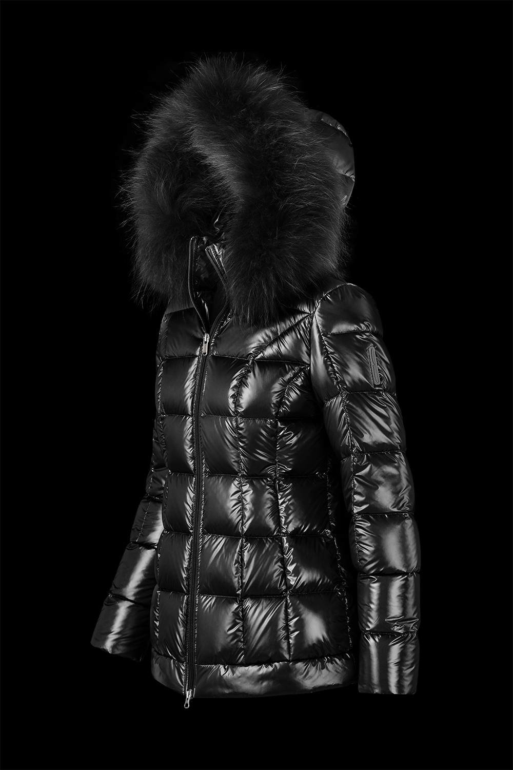 Details about Bomboogie Women's down Jacket with Real fur (Raccoon) Glossy Look Black