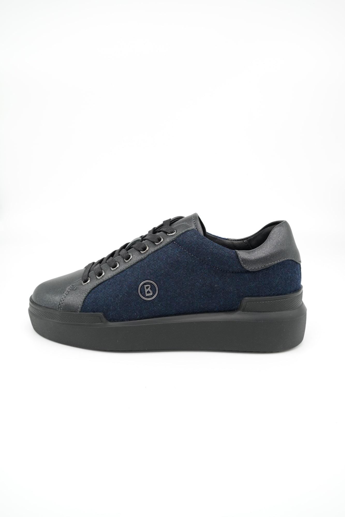 BOGNER Damen Schuhe Low Sneaker Hollywood 12 Schwarz Leder-Filz-Mix