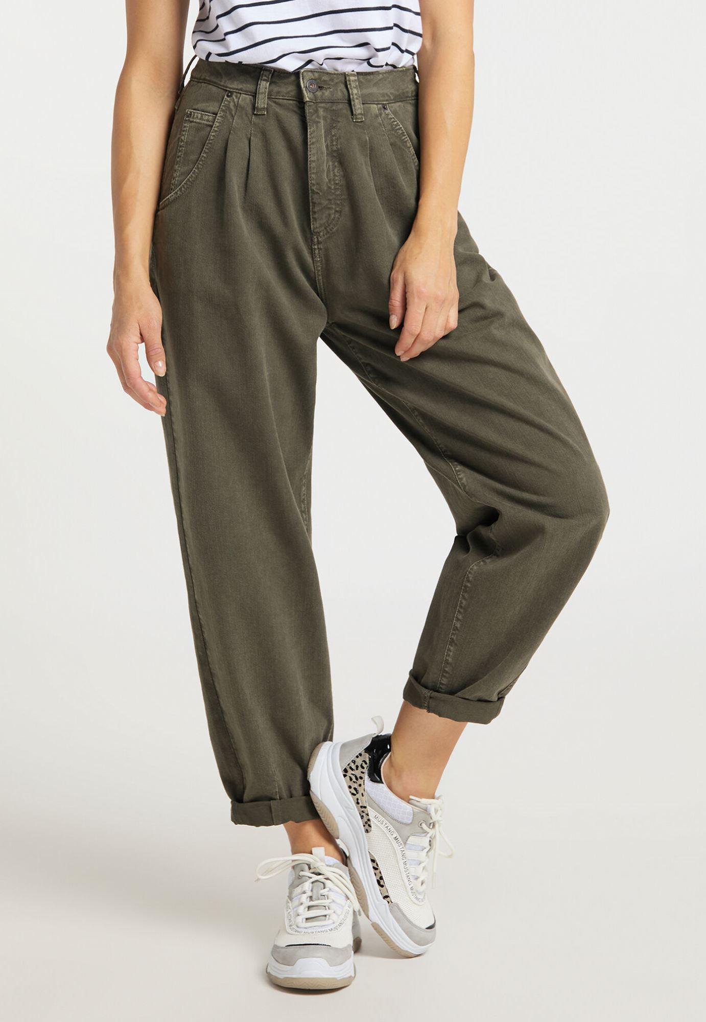Mustang Barrel Pants Damen Jeans / Comfort Fit / High Rise / Olive