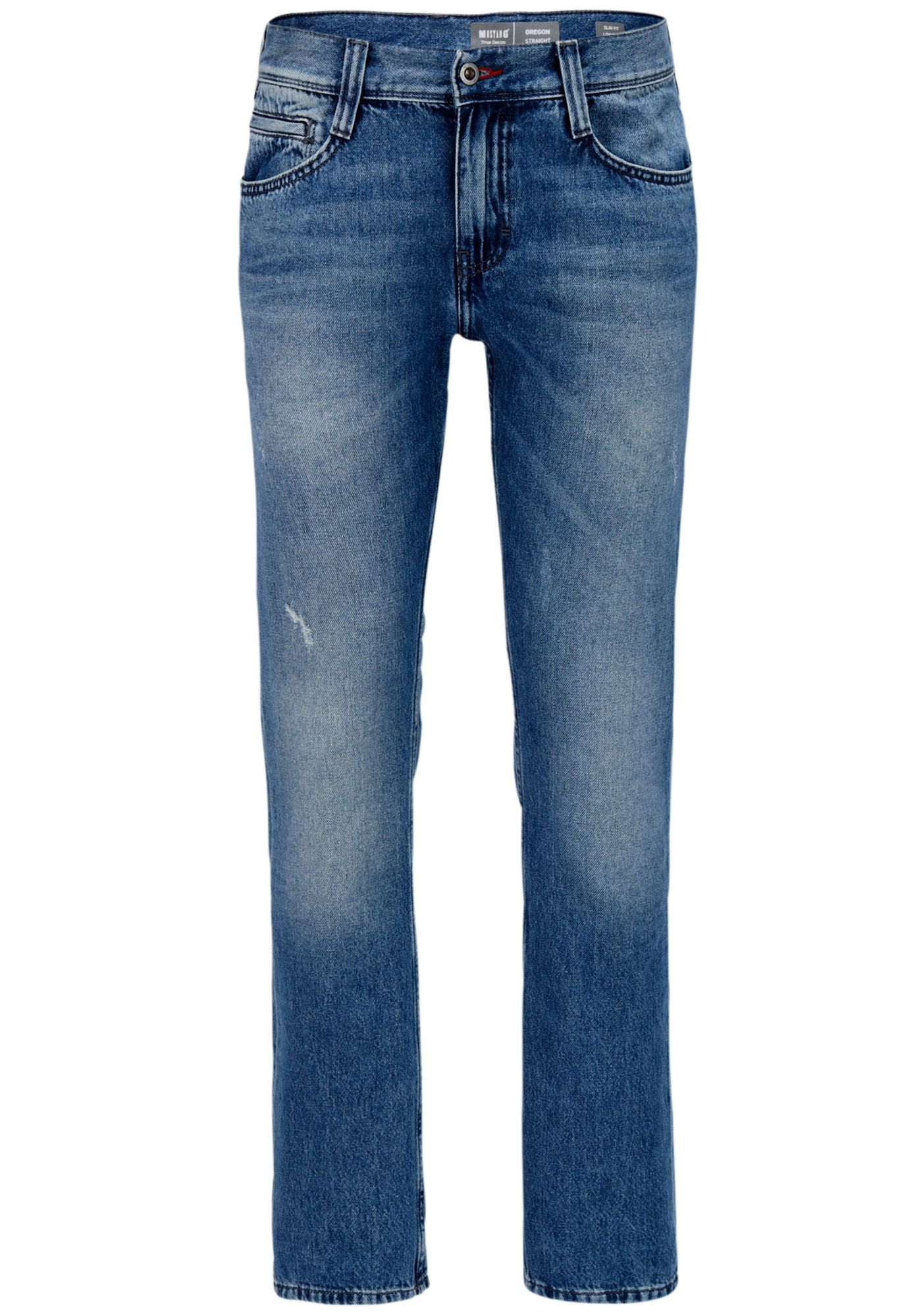 Heavy Used Wash to Mustang Oregon Straight Leg Herren Jeans