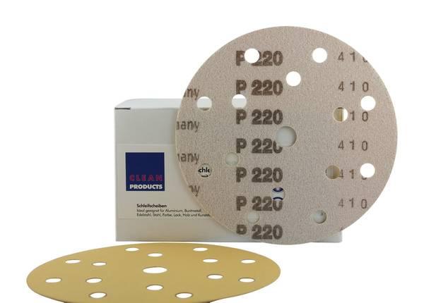CLEANPRODUCTS P220 150 mm Schleifscheiben Papier (15 Loch, Klett) – Bild 2