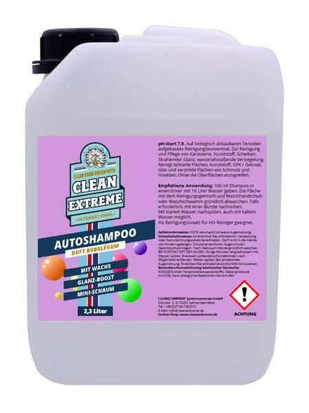 CLEANEXTREME Autoshampoo Konzentrat BUBBLEGUM mit Wachs 2,3 Liter – Bild 1