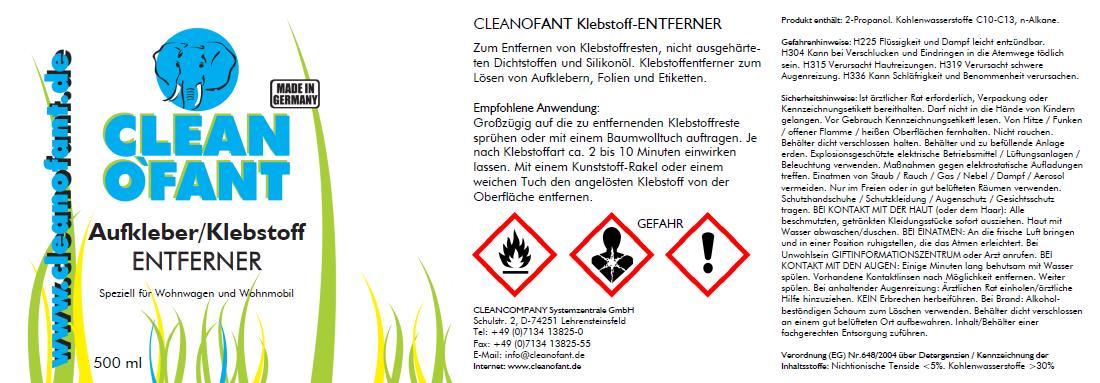 Cleanofant Aufkleber Klebstoff Entferner 500 Ml