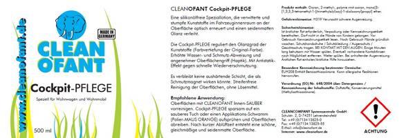 CLEANOFANT Cockpit-PFLEGE - 500 ml – Bild 2