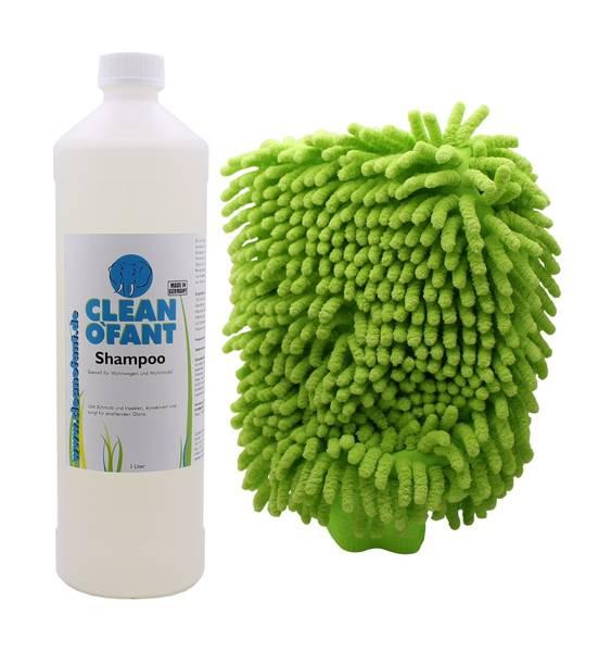 CLEANOFANT Shampoo 1 L + Mikrofaser-Reinigungshandschuh ultraweich – Bild 1