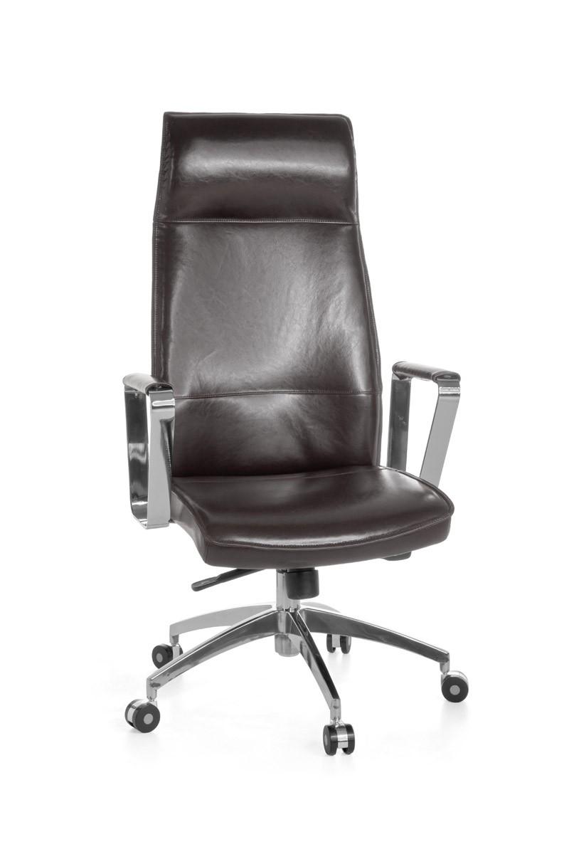 AMSTYLE Bürostuhl VERONA Bezug Echtleder Braun Schreibtischstuhl X XL 120 kg Synchronmechanik Chefsessel Kopfstütze