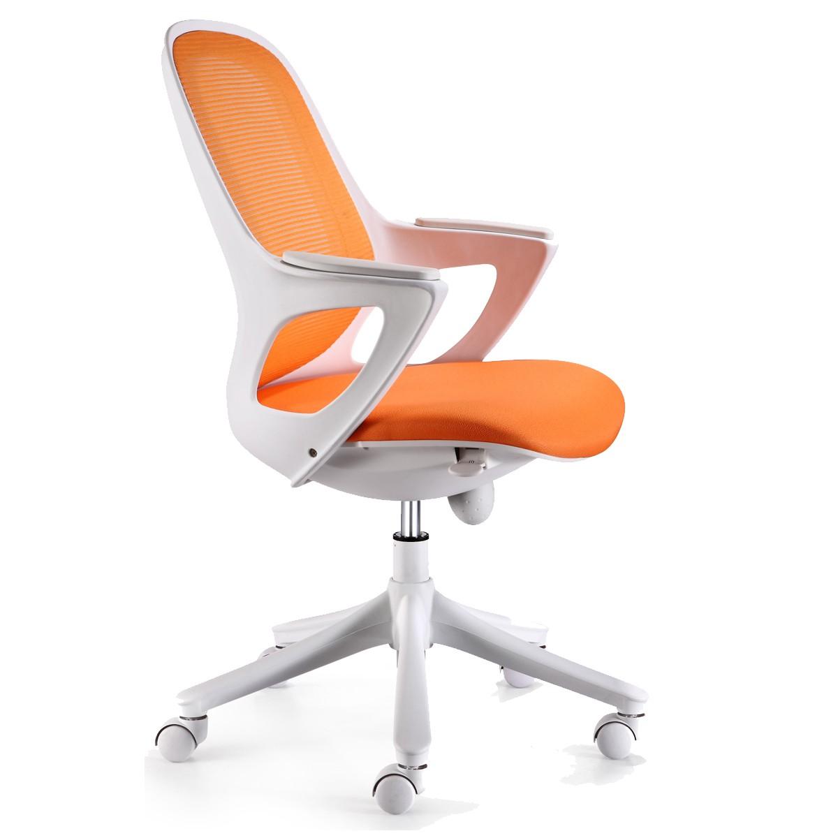 Bürostuhl weiß stoff  Amstyle Bürostuhl MAGLO Orange Stoff Schreibtischstuhl Drehstuhl ...