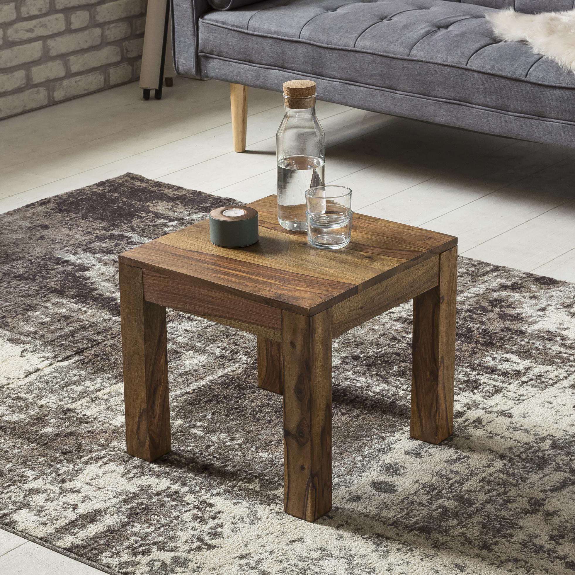 WOHNLING Couchtisch Massiv-Holz Sheesham 8 cm breit Wohnzimmer-Tisch  Design dunkel-braun Landhaus-Stil Beistelltisch Natur-Produkt  Wohnzimmermöbel