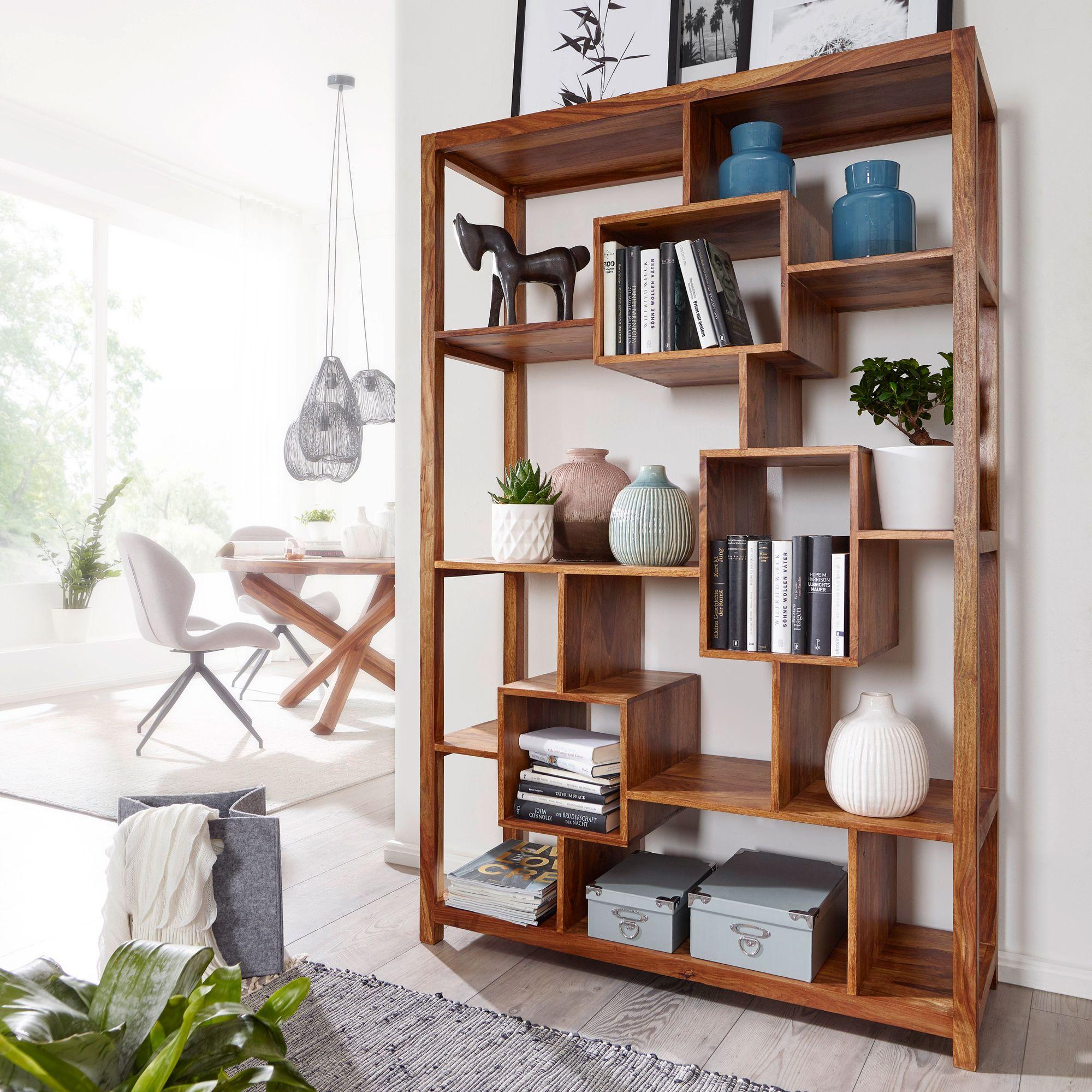 WOHNLING Bücherregal MUMBAI Massiv Sheesham 180cm Massivholz Regal  Raumteiler Neu