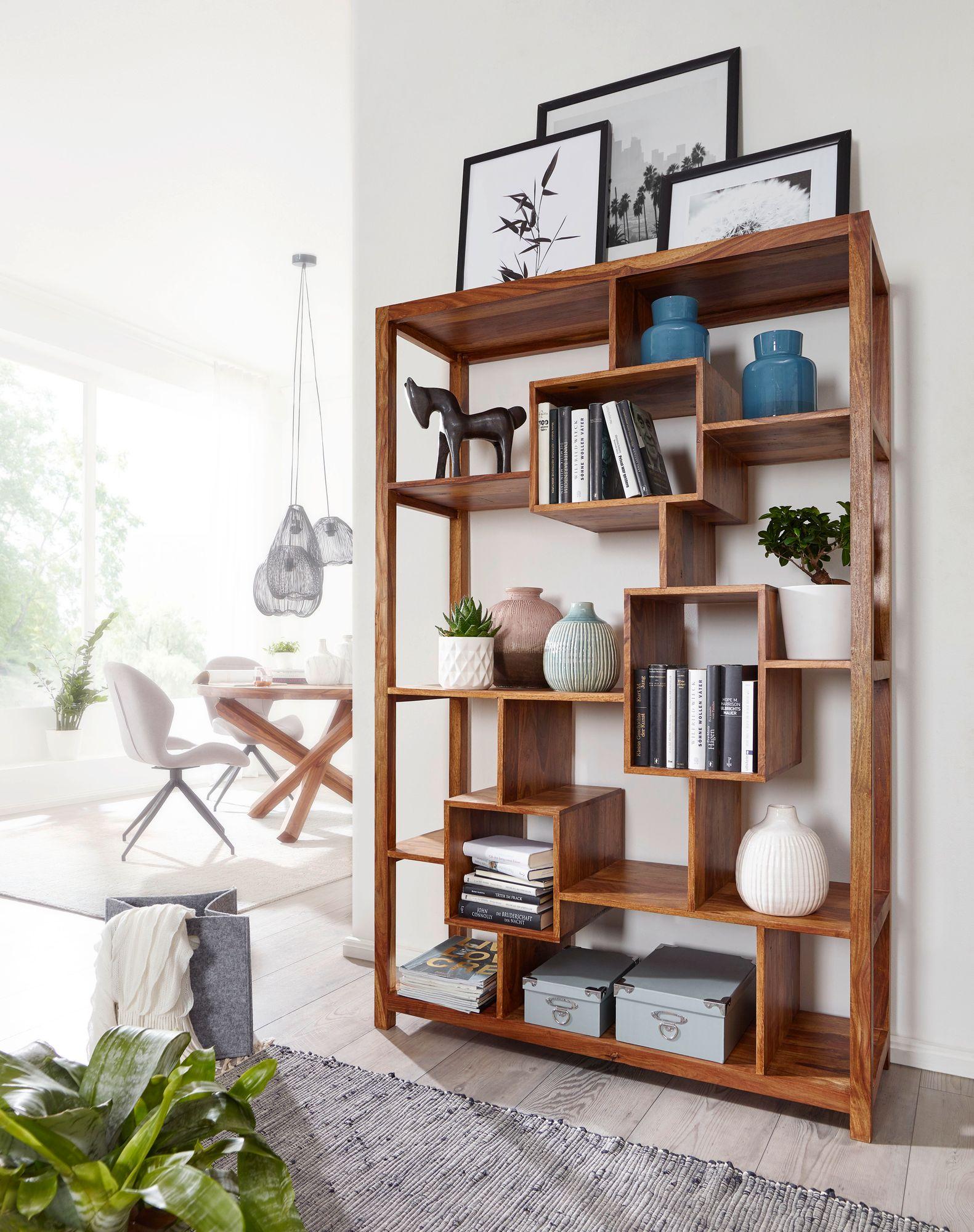 WOHNLING Bücherregal MUMBAI Massiv-Holz Sheesham 4 x 4 cm  Wohnzimmer-Regal Ablagefächer Design Landhaus-Stil Standregal