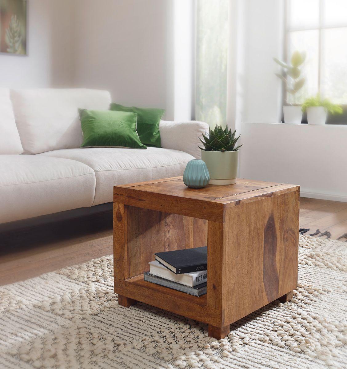 wohnling couchtisch mumbai massiv holz sheesham 50 cm breit wohnzimmer tisch design dunkel braun. Black Bedroom Furniture Sets. Home Design Ideas