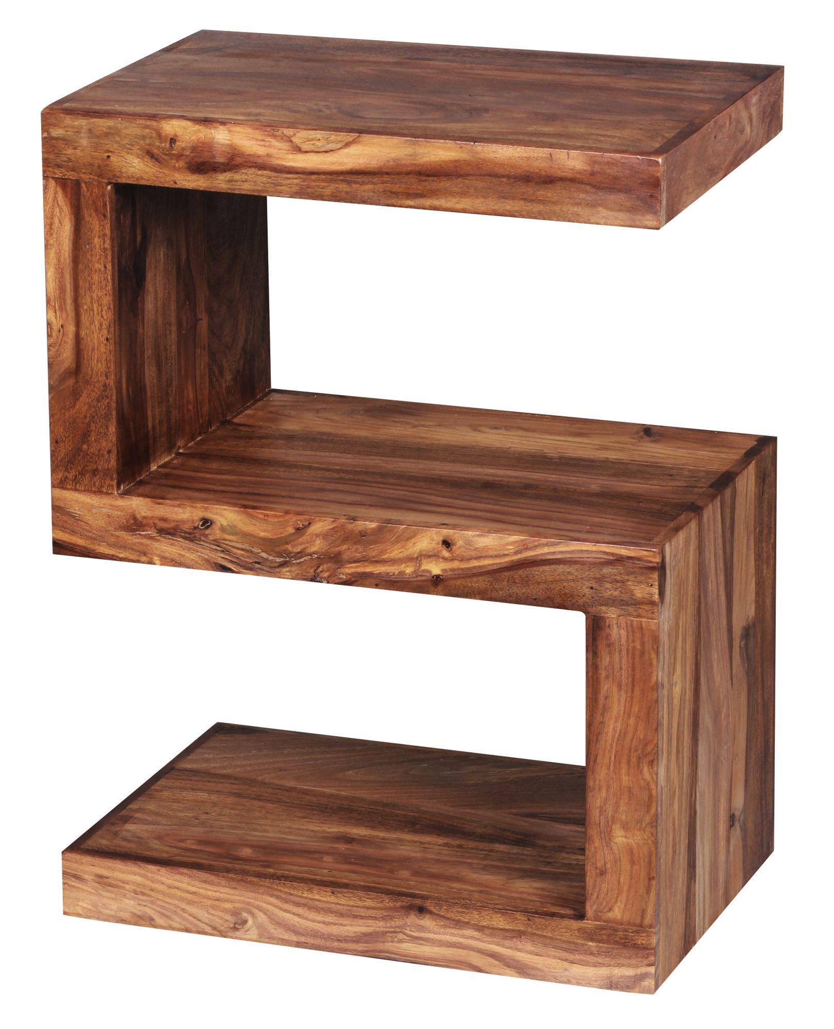 Finebuy Beistelltisch Massiv Ablage Akazie 60 Cm Holz Regal