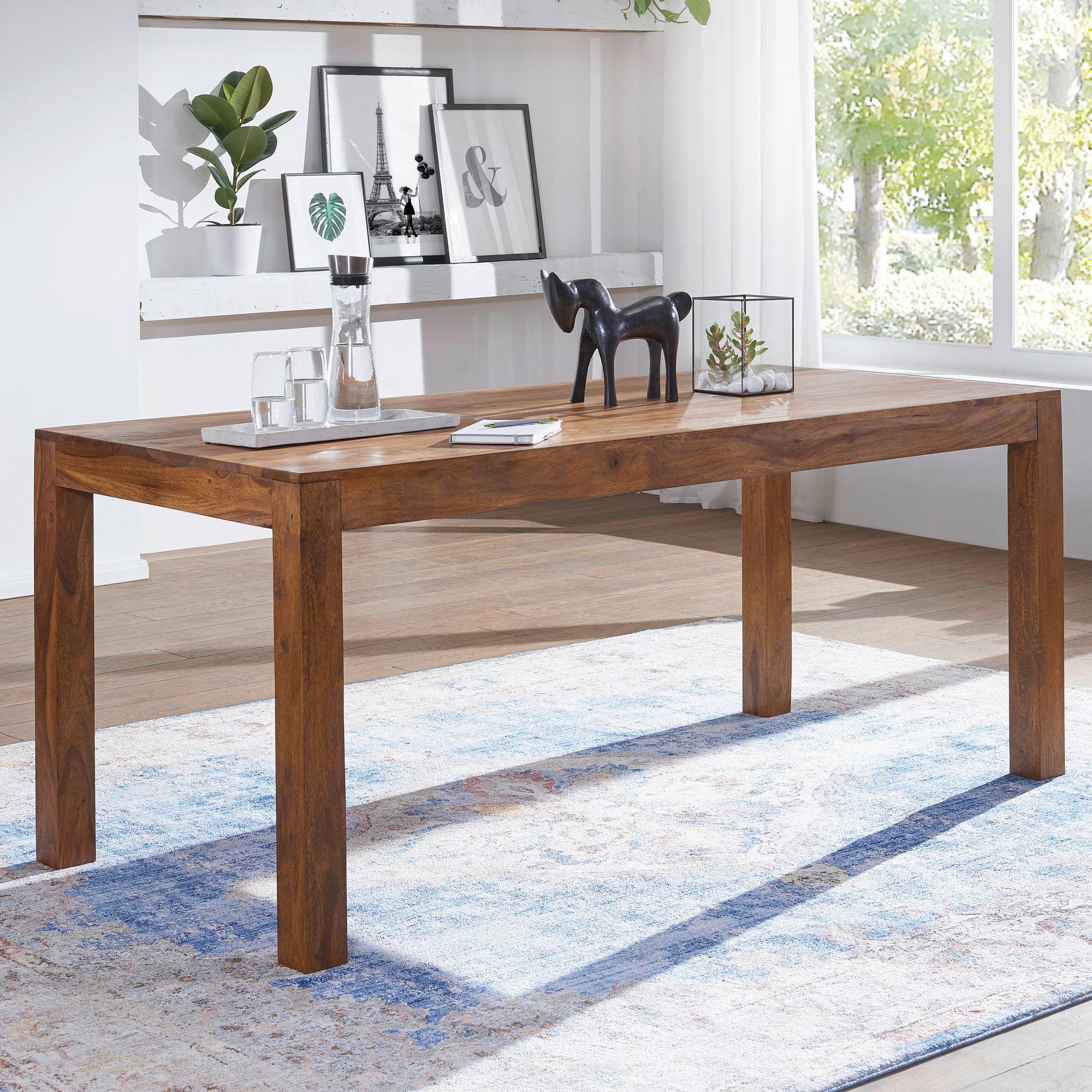 WOHNLING Esstisch MUMBAI Massivholz Sheesham 120 cm Esszimmer-Tisch ...