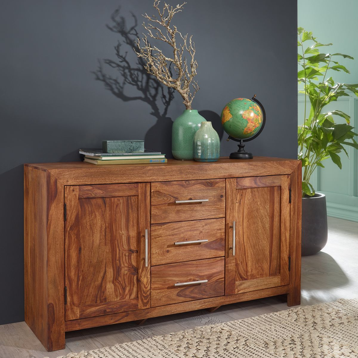 Wonderful FineBuy Sideboard Massivholz Sheesham Kommode 118 Cm 3 Schubladen 2 ... Pictures Gallery