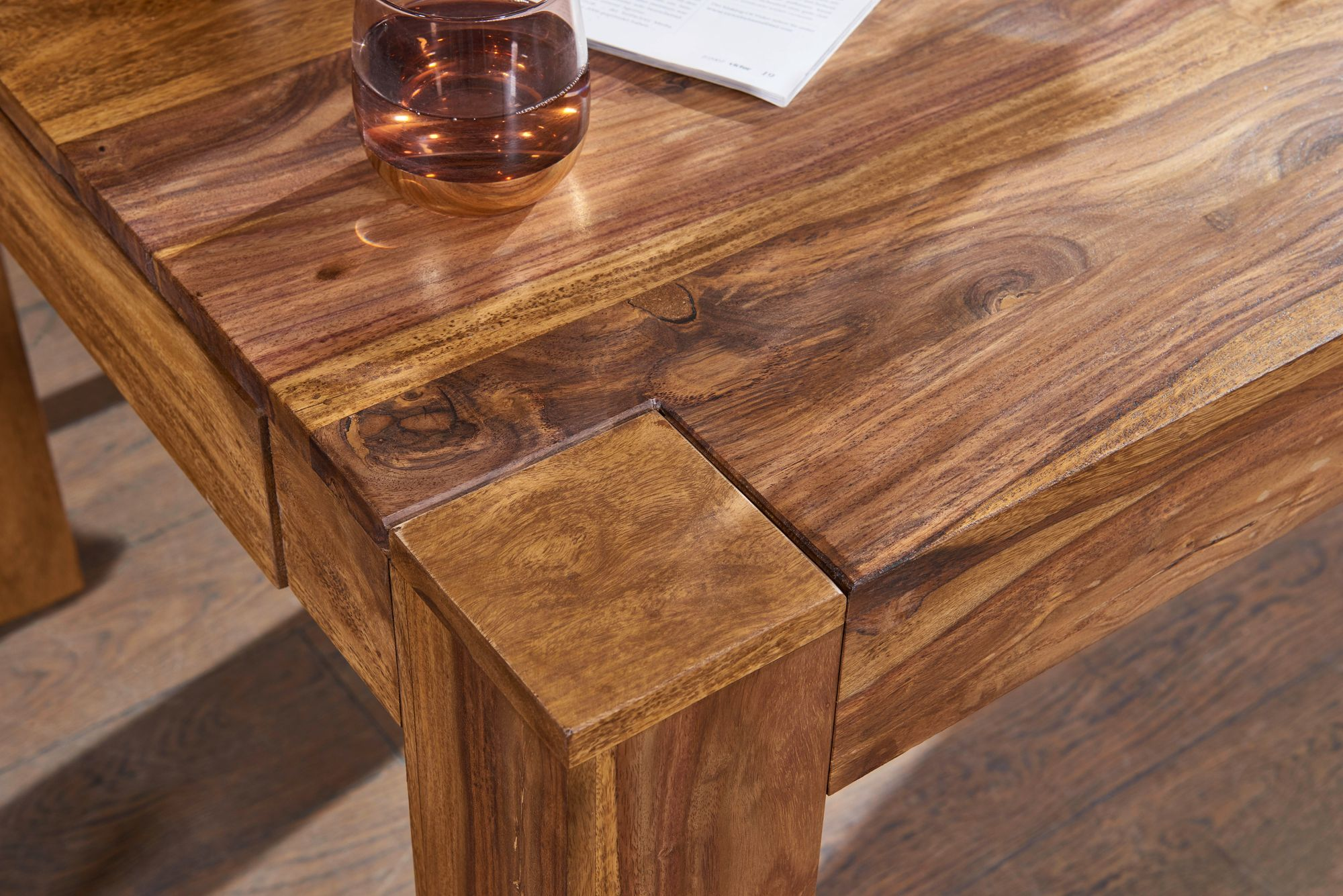 Details zu FineBuy Esstisch Massiv 47 - 47 cm ausziehbar Massivholz  Esszimmer Tisch Neu