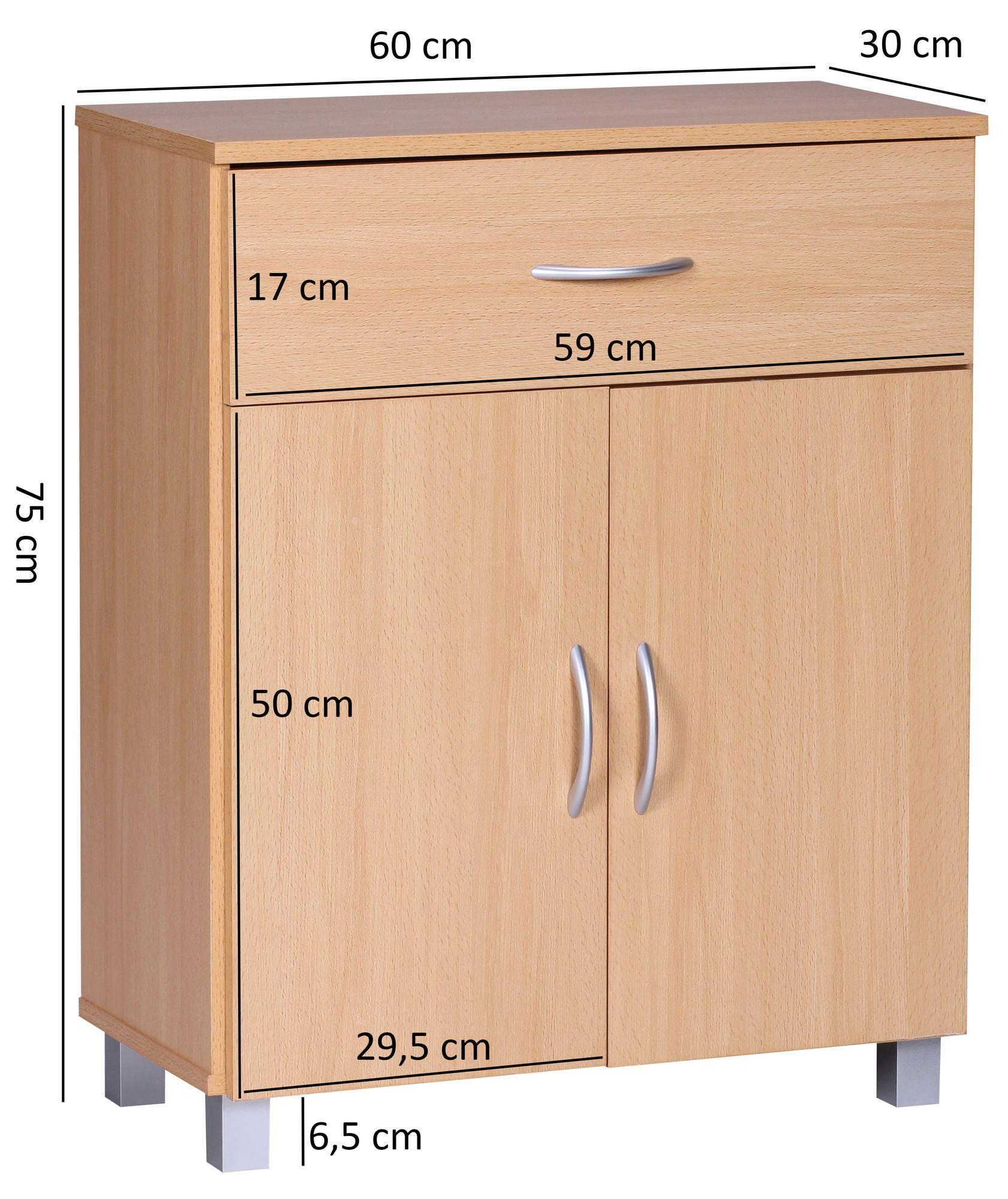 Wohnling Sideboard Buche Wl1 335 60x75x30cm Kommode Schrank Kleine Holz Anrichte Ebay