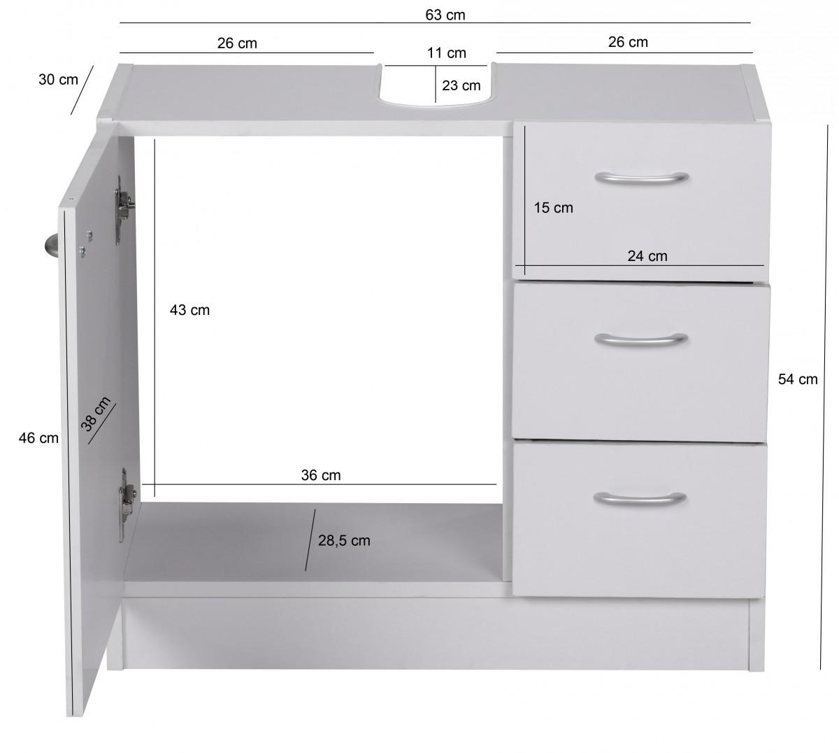 WOHNLING Bad Waschbecken Unterschrank 54 X 63 X 30 Cm 1 Tür, 3 Schubladen,  Weiß 35999