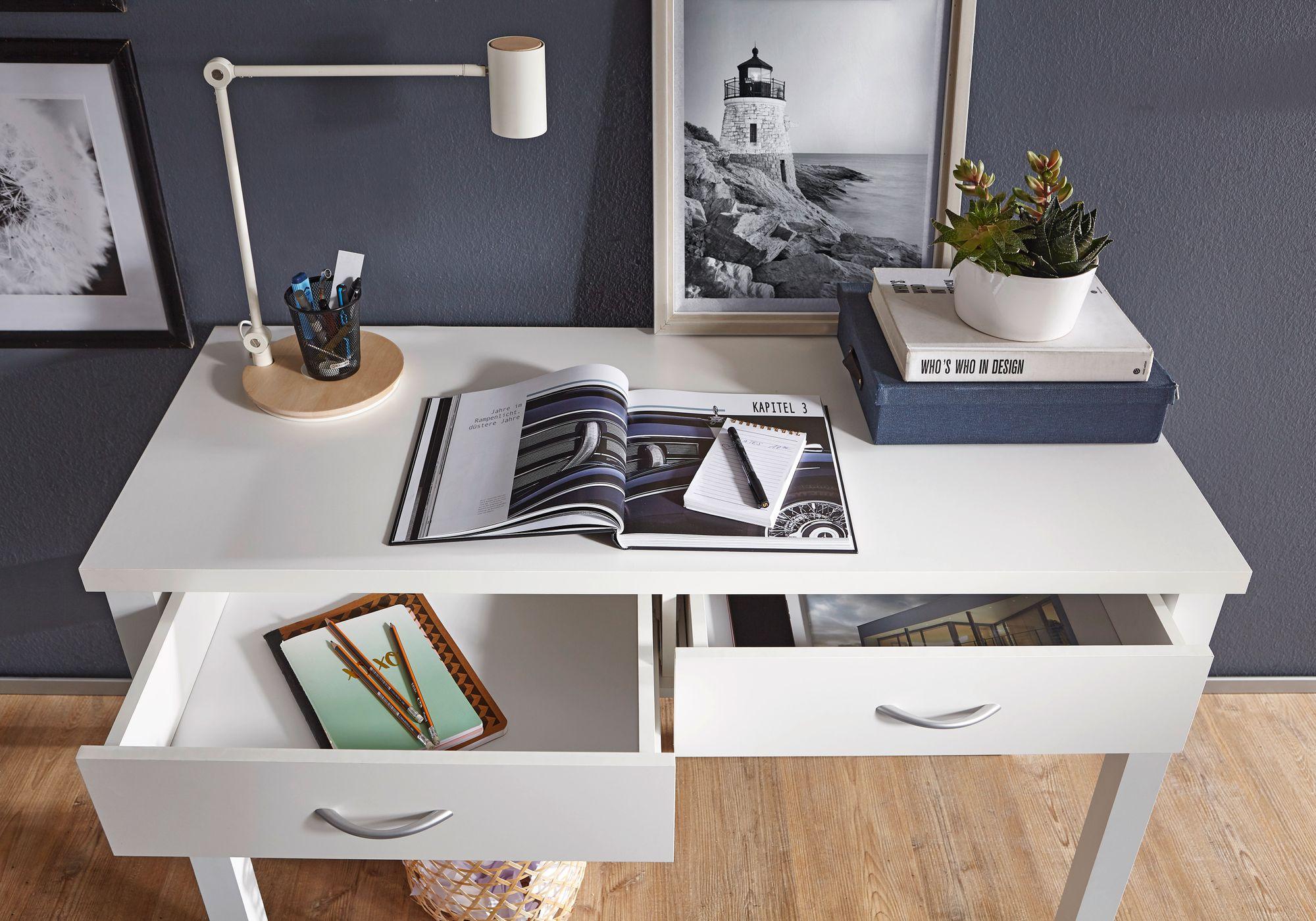 Schreibtisch TED Weiß 2 Schubladen 120cm Schminktisch