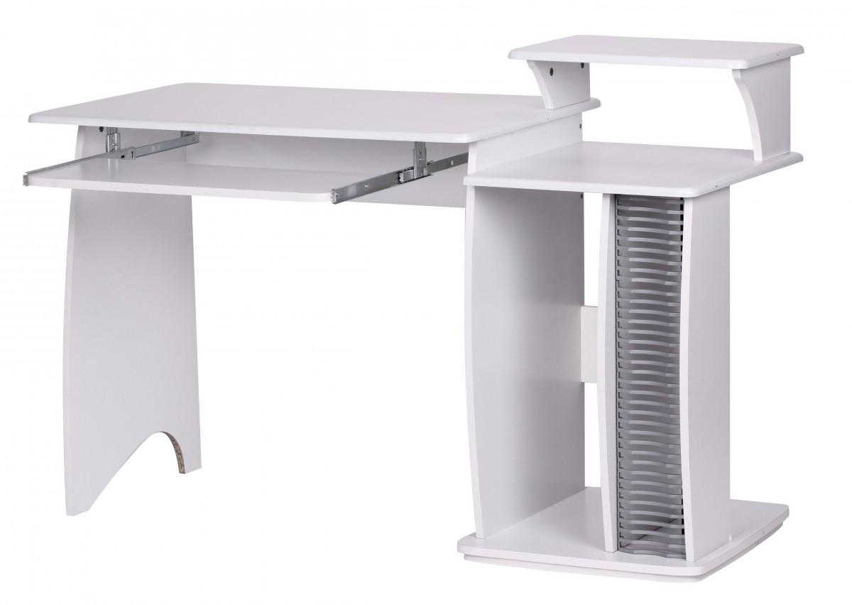 Büro Computertisch Weiß 130 Cm Cd Ablage Schreibtisch Pc Tisch
