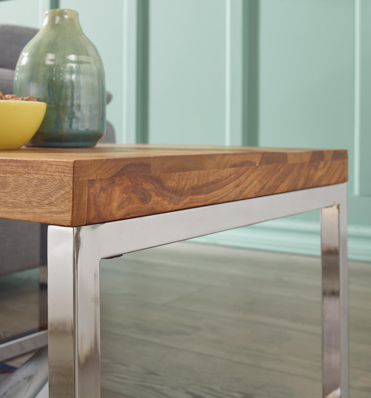finebuy beistelltisch massiv holz sheesham wohnzimmer tisch mit metallgestell landhaus stil. Black Bedroom Furniture Sets. Home Design Ideas