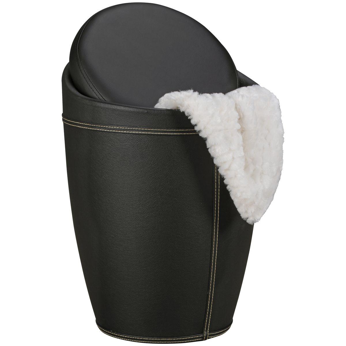 moderner hocker mit funktion badhocker leder optik schwarz sitzhocker neu ebay. Black Bedroom Furniture Sets. Home Design Ideas