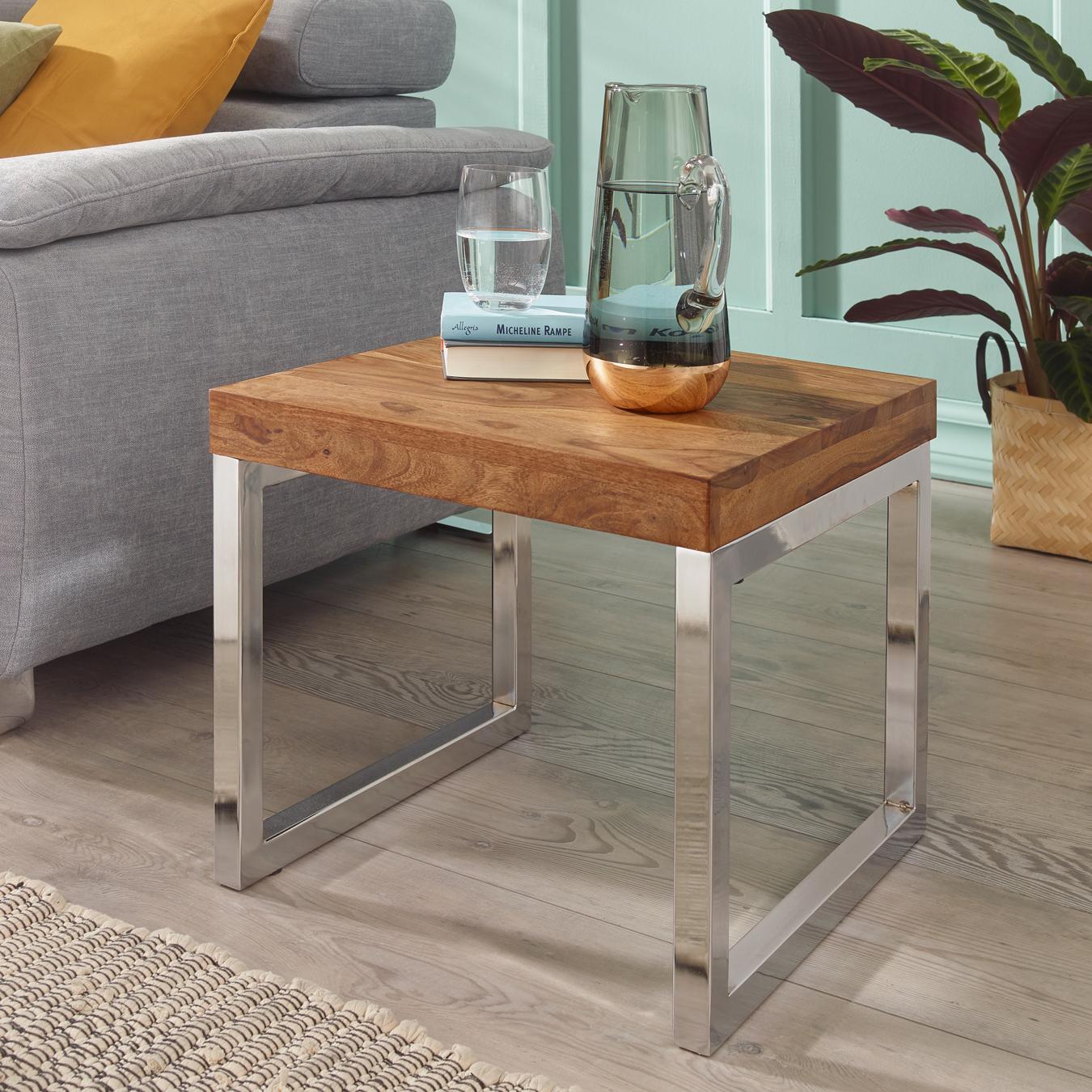 FineBuy Beistelltisch Massiv-Holz Sheesham Wohnzimmer-Tisch Metallgestell  Couchtisch Landhaus-Stil dunkelbraun 20 cm Natur-Produkt Wohnzimmermöbel