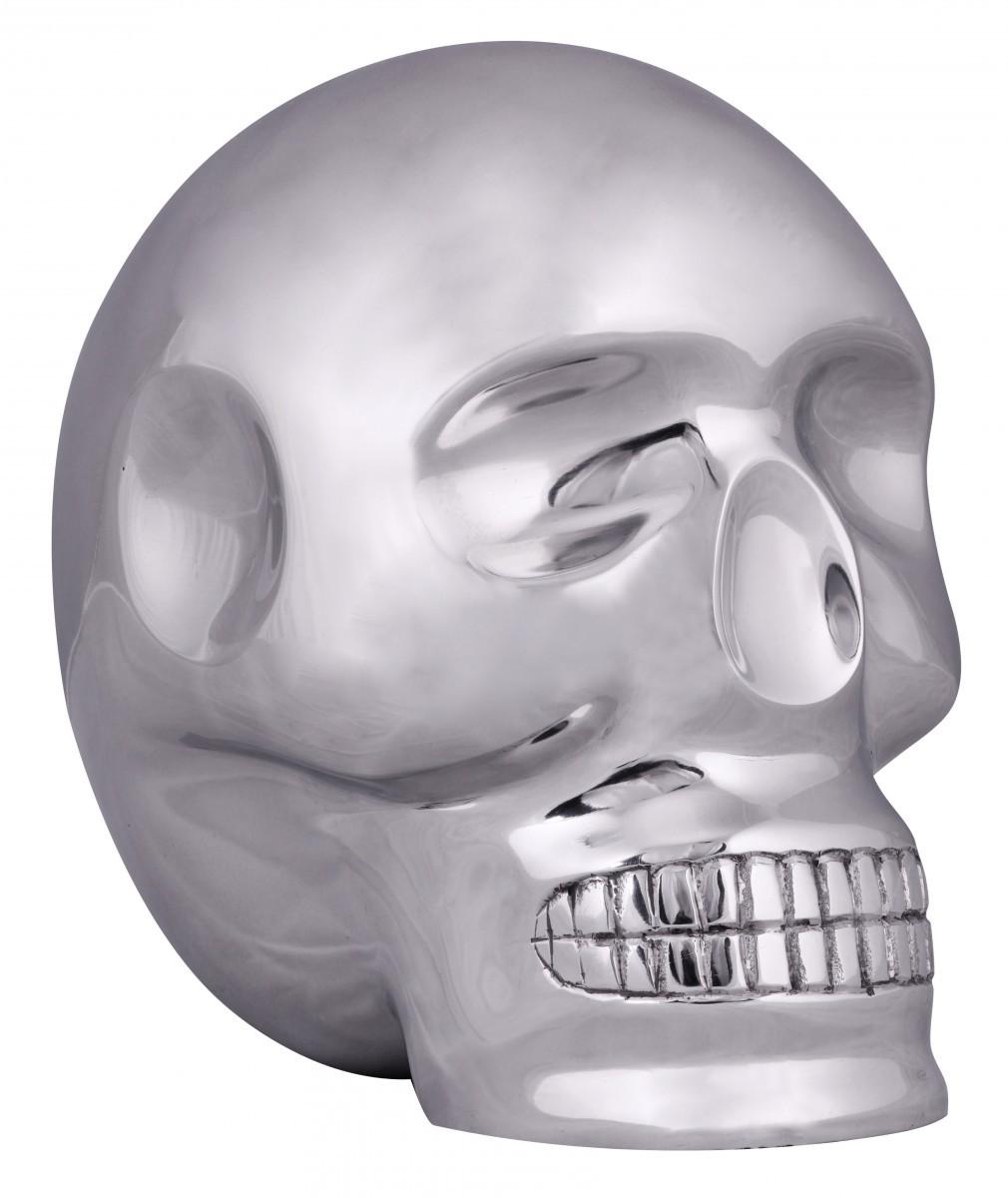 FineBuy Design Deko Skull XXL 23 x 23 x 18 cm Aluminium silbern Schädel Totenkopf | Alu Totenschädel Geschenkidee | Skelett Dekoration