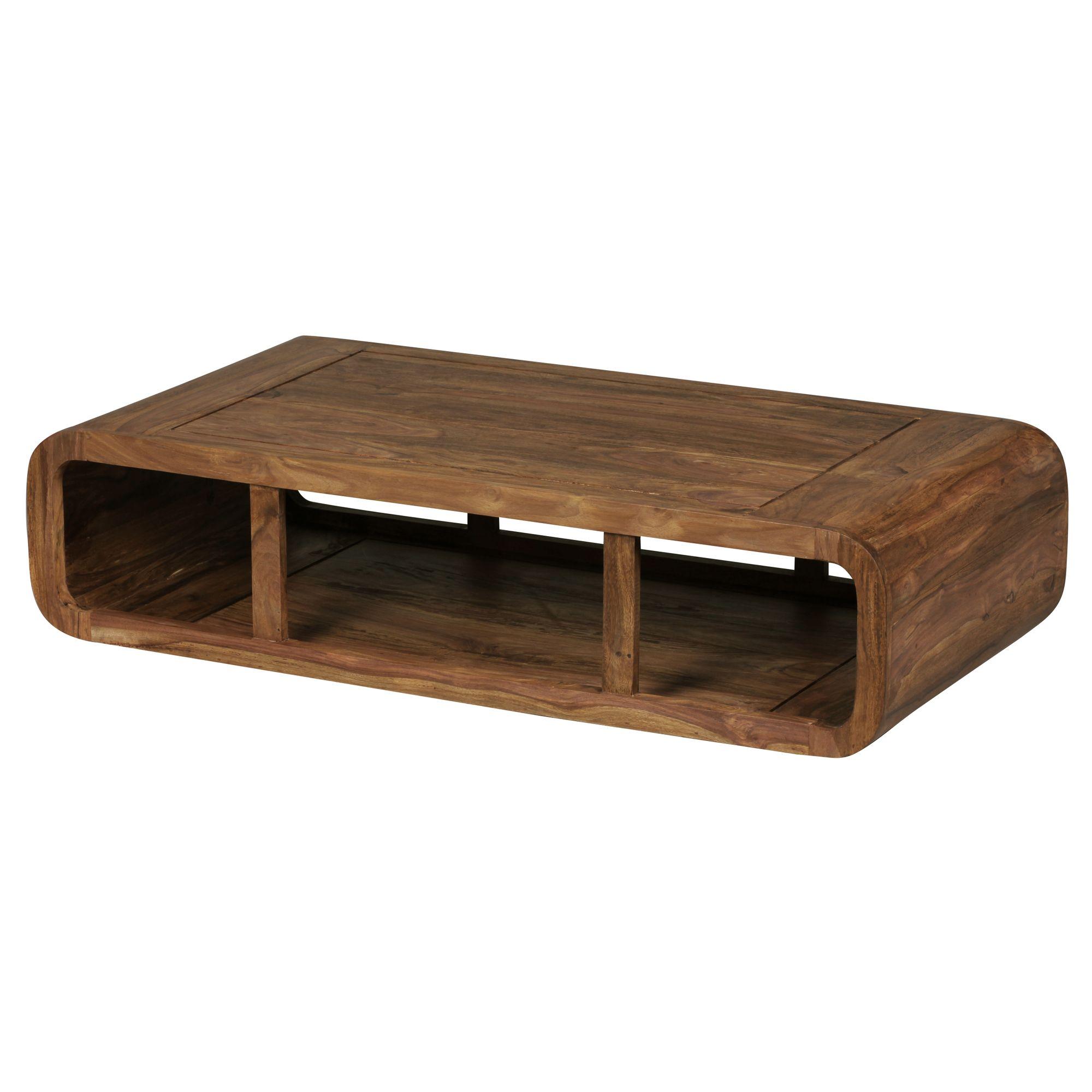 Massiver Couchtisch Holz Sheesham Wohnzimmertisch Ablage 120 Cm Tv
