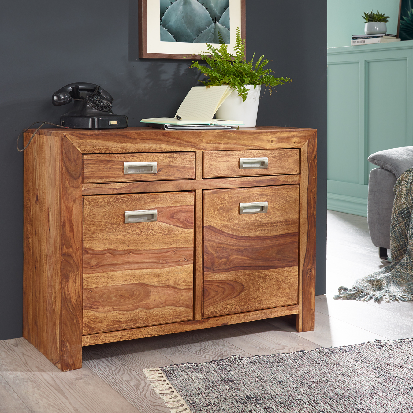 Finebuy Sideboard Sheesham Kommode 90 X 40 X 70 Cm Massiv Holz