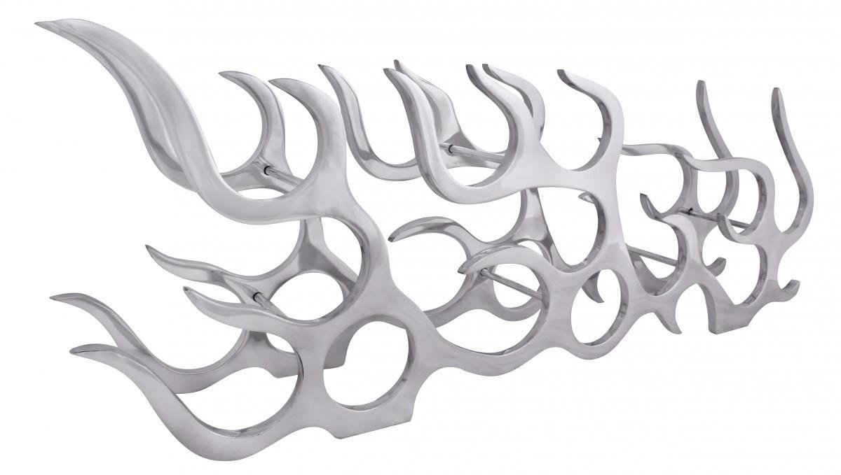 finebuy design aluminium weinregal flame f r 11 flaschen in silber 100 x 35 x 14 cm. Black Bedroom Furniture Sets. Home Design Ideas
