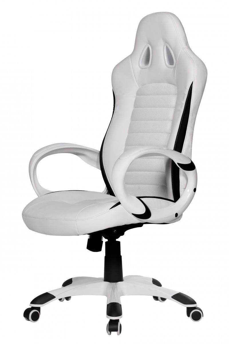Design schreibtischstuhl weiß  FineBuy Bürostuhl RACING Weiß Gaming Chefsessel Racer Drehstuhl ...